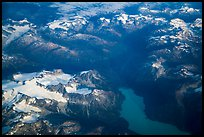Aerial view of Tuxedni Bay and Chigmit Mountains. Lake Clark National Park ( color)