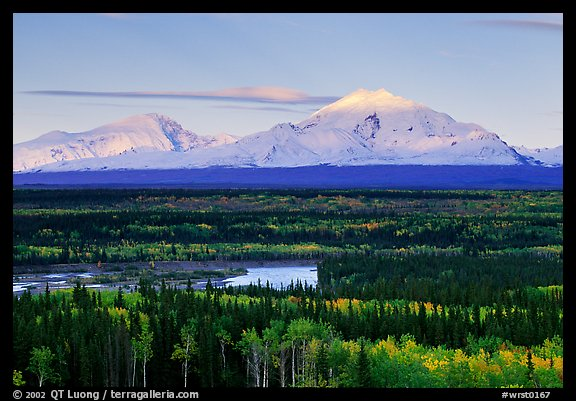 Mt Sanford and Mt Drum, late afternoon. Wrangell-St Elias National Park (color)