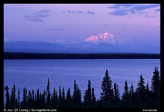 Mt Blackburn above Willow lake, sunset. Wrangell-St Elias National Park (color)