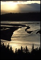 Early morning sun shining on the wide Chitina river. Wrangell-St Elias National Park, Alaska, USA. (color)