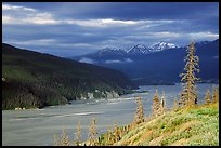 Chitina river valley, snowy peaks, and storm light. Wrangell-St Elias National Park ( color)