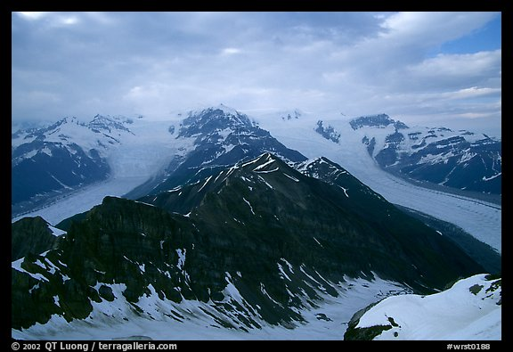 Kennicott and Root glaciers seen from Mt Donoho, evening. Wrangell-St Elias National Park (color)