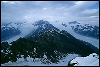 Kennicott and Root glaciers seen from Mt Donoho, evening. Wrangell-St Elias National Park, Alaska, USA.