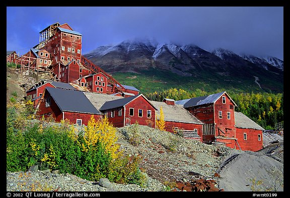Kennicott historic mine town, late afternoon. Wrangell-St Elias National Park (color)
