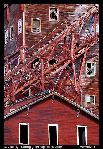 Close-up of mill in Kennicott historic copper mine. Wrangell-St Elias National Park, Alaska, USA.
