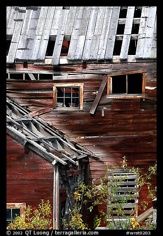 Damaged roof and walls, Kennicott mine. Wrangell-St Elias National Park (color)