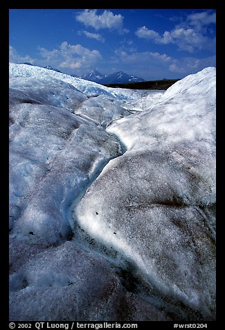 Ice, glacial creek on Root glacier, and mountains. Wrangell-St Elias National Park (color)