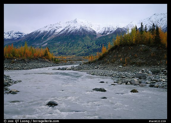 Kennicott River and snow-covered Bonanza ridge. Wrangell-St Elias National Park (color)