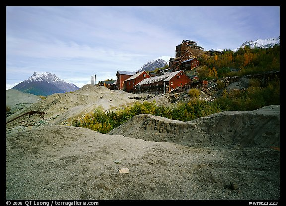 Kennecott abandonned mill above moraines. Wrangell-St Elias National Park (color)