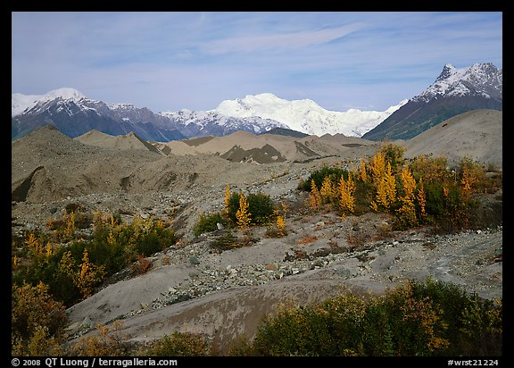 Mt Wrangell and Root Glacier moraines  seen from Kenicott. Wrangell-St Elias National Park (color)