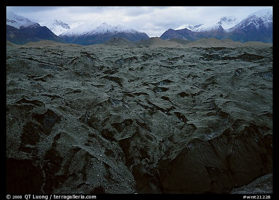 Glacier covered with black rocks. Wrangell-St Elias National Park (color)