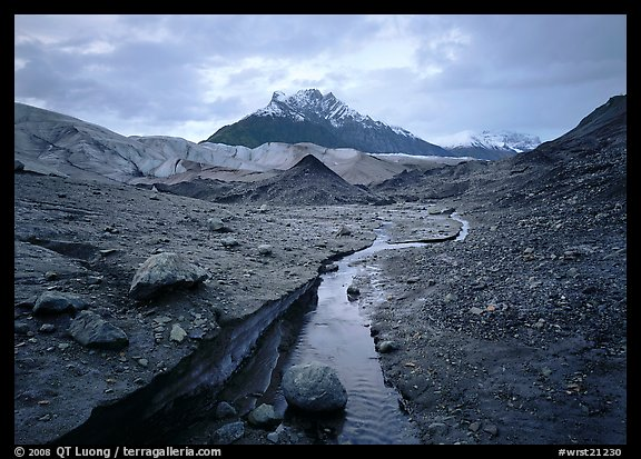 Mt Donoho above moraine, stream, and Root glacier. Wrangell-St Elias National Park (color)