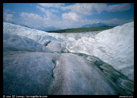Root Glacier with stream on ice. Wrangell-St Elias National Park (color)