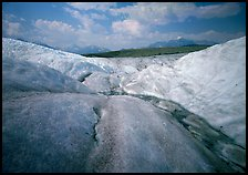 Root Glacier with stream on ice. Wrangell-St Elias National Park, Alaska, USA.