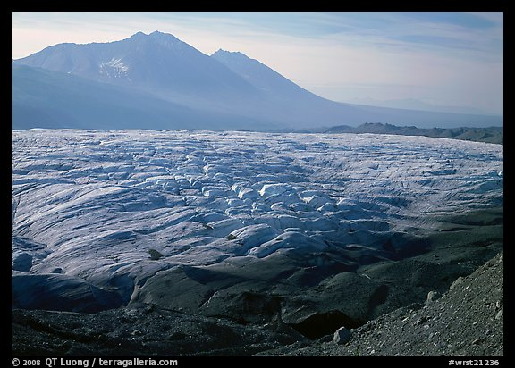 Root glacier and Bonanza ridge, morning. Wrangell-St Elias National Park (color)