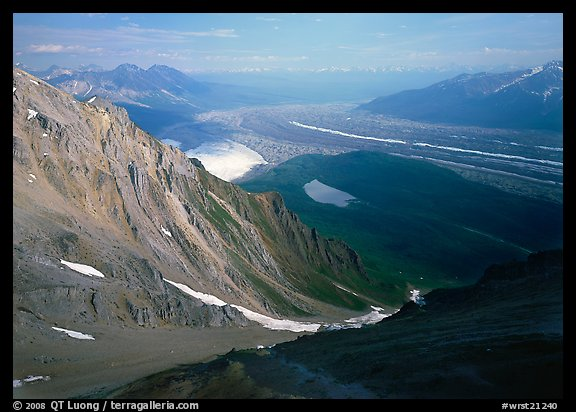 View over hazy Chugach mountains and Kennicott Glacier from Mt Donoho. Wrangell-St Elias National Park (color)