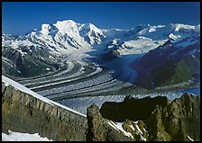 Mt Blackburn and Kennicott glacier seen from Mt Donoho, morning. Wrangell-St Elias National Park, Alaska, USA. (color)