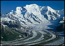 Mt Blackburn and Kennicott glacier seen from Mt Donoho, morning. Wrangell-St Elias National Park, Alaska, USA.