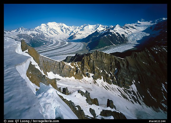 Corniche and view of glaciers and Mt Blackburn range. Wrangell-St Elias National Park (color)