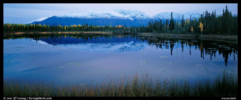 Pond and reflected mountains at dusk. Wrangell-St Elias National Park (color)