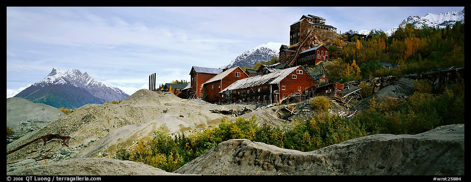 Abandonned mill buildings and moraine, Kennicott. Wrangell-St Elias National Park (color)