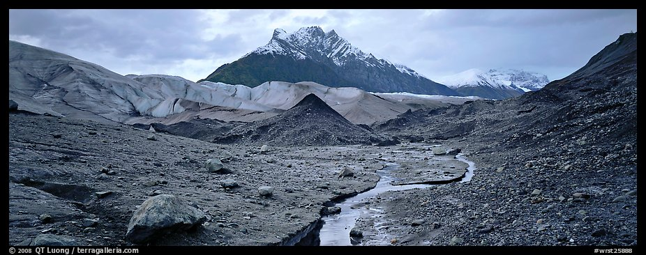 Glacial landscape with stream and moraine. Wrangell-St Elias National Park (color)