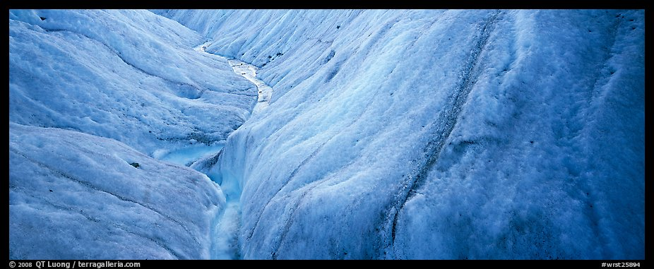 Stream and ice close-up on glacier. Wrangell-St Elias National Park (color)