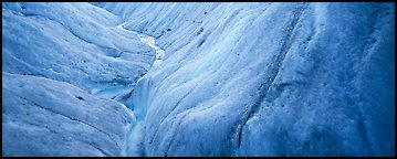 Stream and ice close-up on glacier. Wrangell-St Elias National Park (Panoramic color)