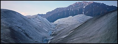 Glacial forms and rocky mountain. Wrangell-St Elias National Park (Panoramic color)