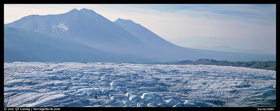Crevassed glacier and mountains. Wrangell-St Elias National Park (color)