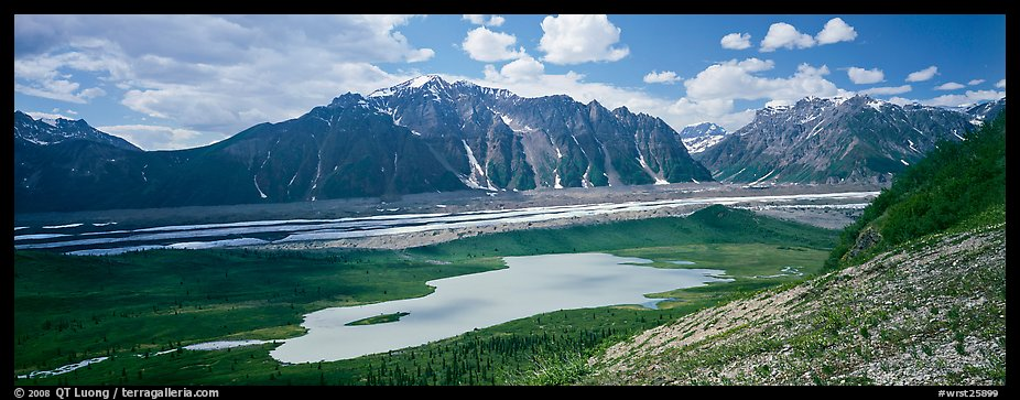Glacial valley and lake. Wrangell-St Elias National Park (color)
