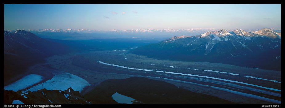 Elevated view of glacier terminal section and mountains. Wrangell-St Elias National Park (color)