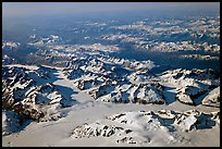Aerial view of icefields and mountains, St Elias range. Wrangell-St Elias National Park, Alaska, USA. (color)