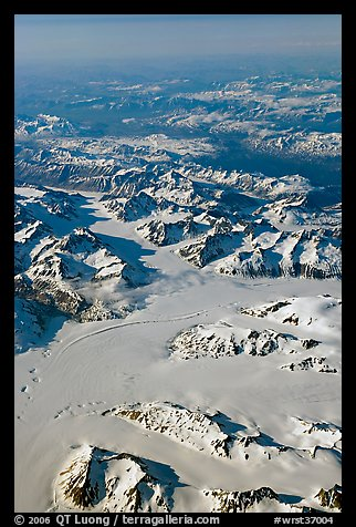 Aerial view of glaciers and mountains, St Elias range. Wrangell-St Elias National Park (color)