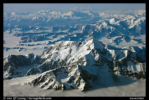 Aerial view of Mt St Elias and Mt Logan. Wrangell-St Elias National Park (color)