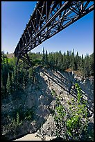 Bridge over Kuskulana canyon and river. Wrangell-St Elias National Park, Alaska, USA. (color)