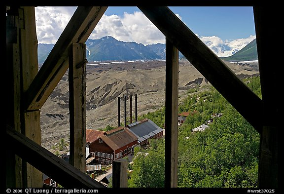 Kennecott power plant and Root Glacier seen from the Mill. Wrangell-St Elias National Park (color)