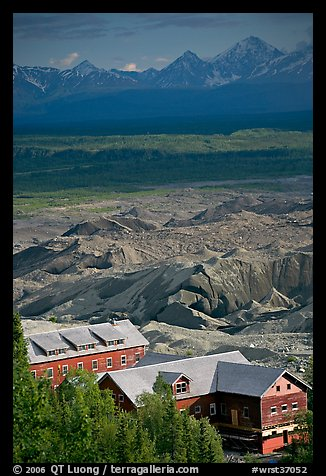 Kennecott mill town buildings and moraines of Root Glacier. Wrangell-St Elias National Park (color)