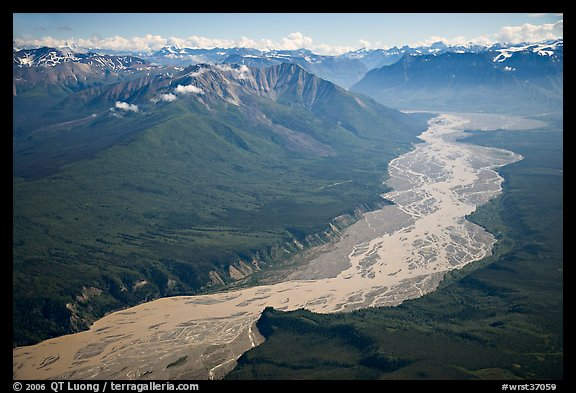 Aerial view of valley with wide braided river. Wrangell-St Elias National Park (color)