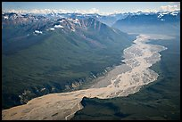 Aerial view of valley with wide braided river. Wrangell-St Elias National Park, Alaska, USA. (color)