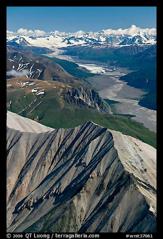 Aerial view of Nizina River and Glacier. Wrangell-St Elias National Park (color)