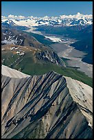 Aerial view of Nizina River and Glacier. Wrangell-St Elias National Park, Alaska, USA.