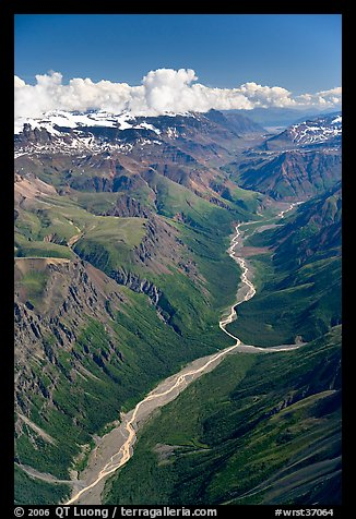 Aerial view of verdant river valley. Wrangell-St Elias National Park (color)