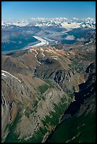 Aerial view of Chitistone Mountains. Wrangell-St Elias National Park, Alaska, USA. (color)