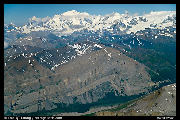 Aerial view of Mile High Cliffs and Mt Blackburn. Wrangell-St Elias National Park (color)