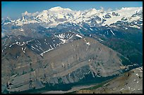 Aerial view of Mile High Cliffs and Mt Blackburn. Wrangell-St Elias National Park, Alaska, USA. (color)