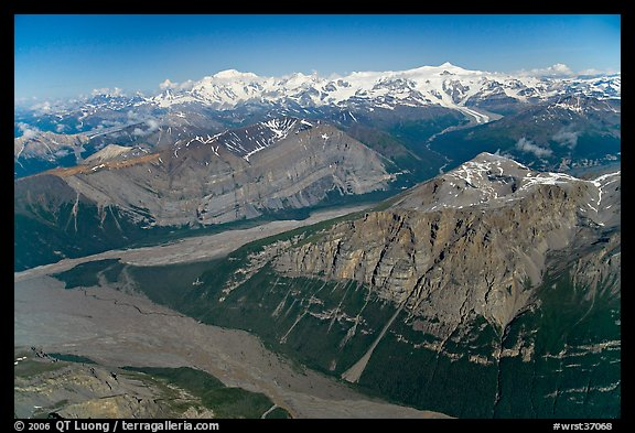 Aerial view of Mile High Cliffs and Chizina River. Wrangell-St Elias National Park (color)