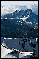 Aerial view of rugged peaks, Saint Elias Mountains. Wrangell-St Elias National Park, Alaska, USA. (color)