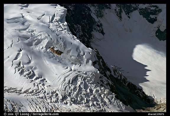 Aerial view of crevasses on steep glacier. Wrangell-St Elias National Park (color)
