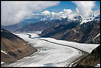 Aerial view of Barnard Glacier and median moraine. Wrangell-St Elias National Park, Alaska, USA.